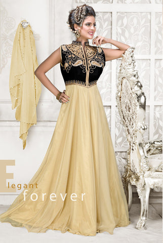 Rukhad Fashion Net Beige & Black Semi-Stitched Gown