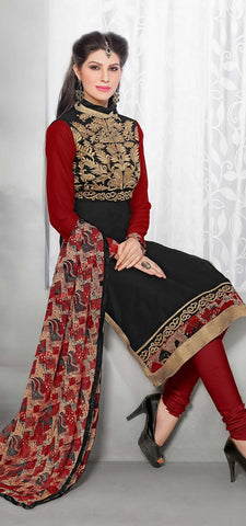 Rukhad Fashion Black Georgette Straight Suit.