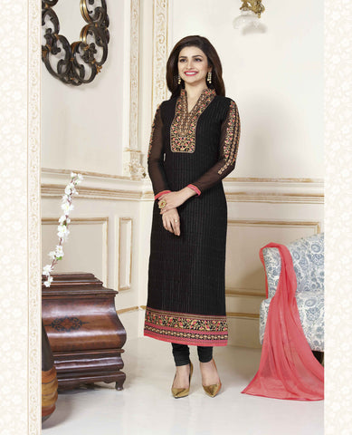 Black Georgette Pakistani Straight Suit , DRESS MATERIAL- Rukhad Fashion
