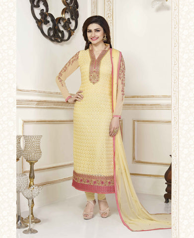 Yellow Georgette Pakistani Straight Suit