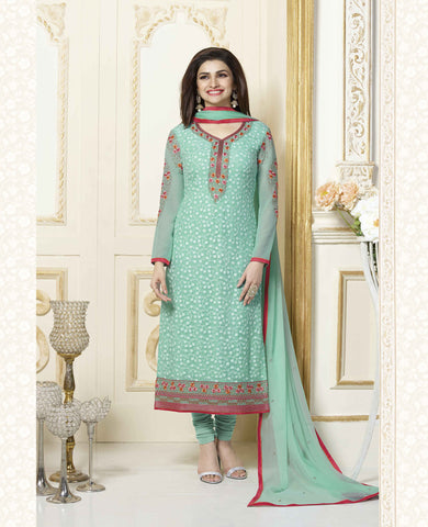 Green Georgette Pakistani Straight Suit , DRESS MATERIAL- Rukhad Fashion