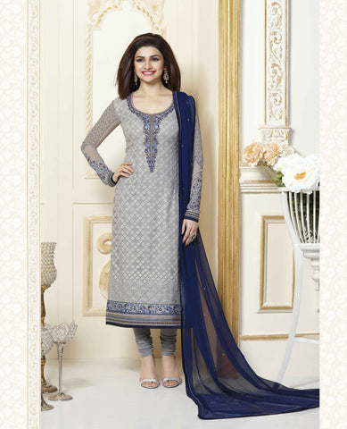 Grey Georgette Pakistani Straight Suit , DRESS MATERIAL- Rukhad Fashion