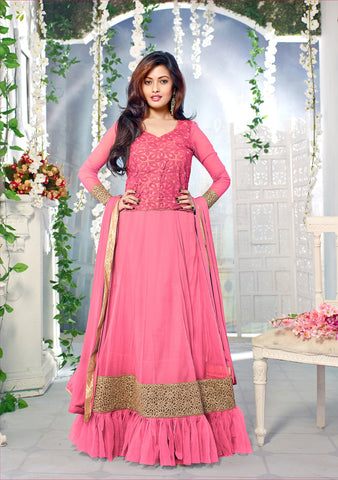 Rukhad Fashion Pink Color Silky Net & Georgette Gown
