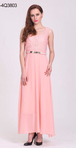 Peach Colored Georgette Silk Western Gown