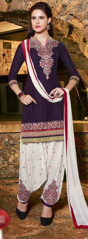 Violet & White Colored Pure Cotton Patiyala Dress Material