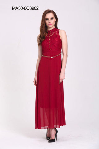 Red Colored Georegette And Net Western Gown