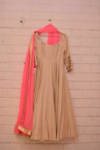 Designer Beige Semi Stitched Anarkali Suit , anarkali- Rukhad Fashion