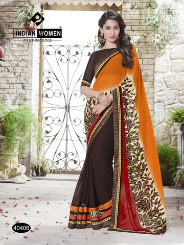 Orange & Brown  Colored Georgette Zari Work  with Patch Work and Lace border Saree