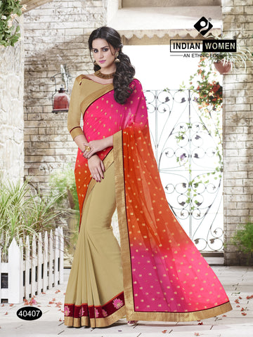 Multi  Colored Satin Chiffon  Georgette Lace border Saree