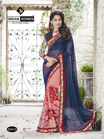 Blue & Peach Colored  Georgette Lace border Saree
