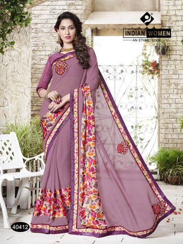 Pink Colored Chiffon  Georgette Cut Paste work With Lace border Saree