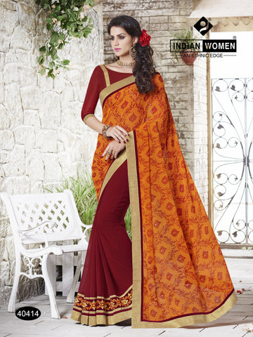 Orange and Maroon Colored Georgette  Zari work And stone work With Resham work Saree
