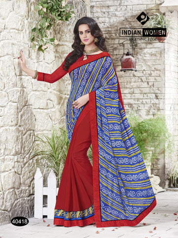 Blue and Red Colored Georgette  Zari work And stone work With Resham work Lace Border Saree