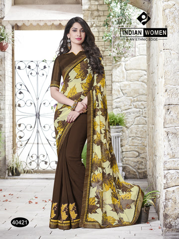 Multi Colored Georgette satin chiffon Zari work And Patch work  Saree