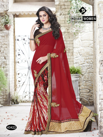 Multi Colored Georgette Cut paste, zari work With  patch work Saree