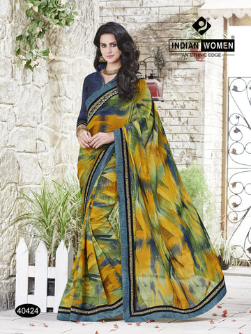 Multi Colored Georgette Zari work And Resham Work With  Stone work Saree