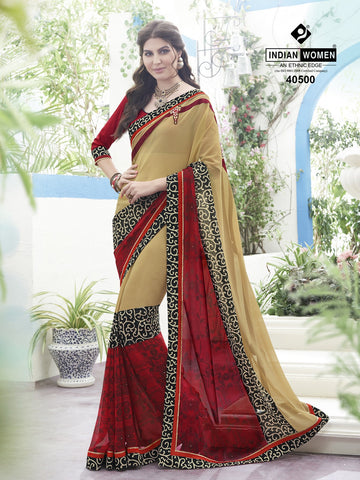 Beige & Red Colored Georgette Printed Half & Half Saree