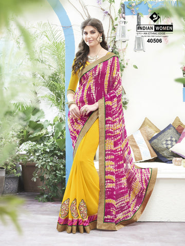 Pink & Yellow Colored Georgette Printed Half & Half Saree