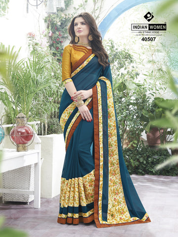 Blue Colored Georgette Bhagalpuri Printed Half & Half Saree