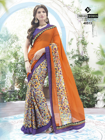 Multi Colored Satin Chiffon Georgette Printed Half & Half Saree