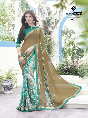 Multi Colored Satin Georgette Printed Half & Half Saree