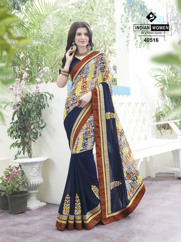 Multi Colored Georgette Printed Half & Half Saree