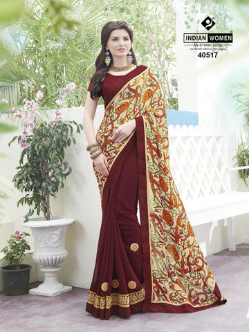 Multi Colored Satin Chiffon  Printed Half & Half Saree