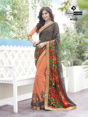 Peach & Grey Colored Satin Georgette Printed Half & Half Saree