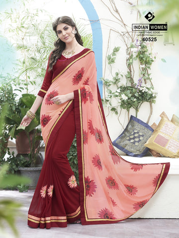 Pink & Red Colored Georgette Printed Half & Half Saree