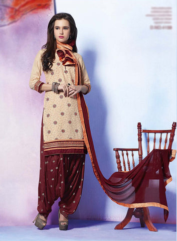 Beige & Maroon Colored Pure Cotton Patiyala Dress Material