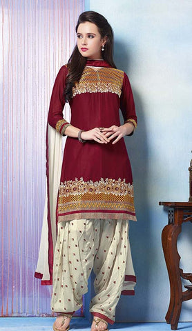 Maroon & White Colored Pure Cotton Patiyala Dress Material