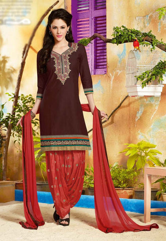 Brown & Red Colored Pure Cotton Patiyala Dress Material