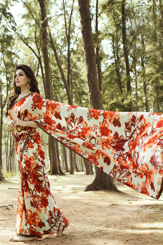 Multicoloured Casual Wear Georgette Printed Saree with Banglori Silk Blouse Piece