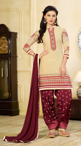 Beige & Mroon Colored Pure Cotton Patiyala Dress Material
