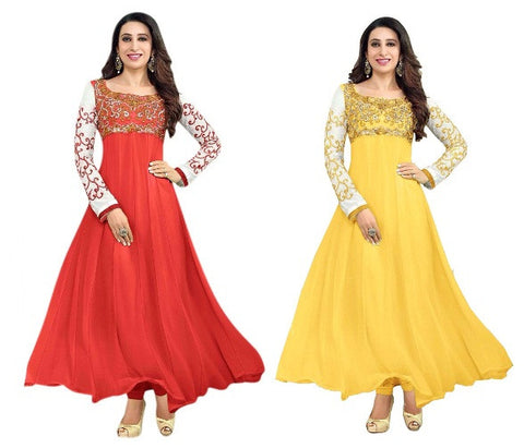 Special Red & Yellow Anarkali Combo