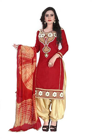 Rukhad Fashion Maroon Chanderi Cotton Semi-Stitched Patiyala Dress , DRESS MATERIAL- Rukhad Fashion