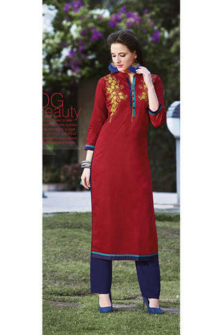 Rukhad Fashion Red Cotton Embroidery Work Designer Kurti , Kurti- Rukhad Fashion