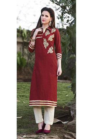 Rukhad Fashion Maroon Cotton Embroidery Work Designer Kurti , Kurti- Rukhad Fashion