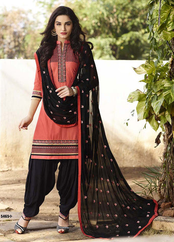 Peach & Black color Pure Cotton Patiyala Dress Material