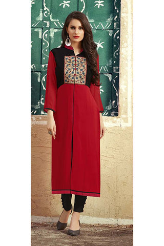 Rukhad Fashion Maroon Georgette Embroidery Work Designer Kurti , Kurti- Rukhad Fashion