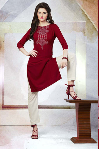 Rukhad Fashion Maroon Rayon Embroidery Work Kurti , Kurti- Rukhad Fashion