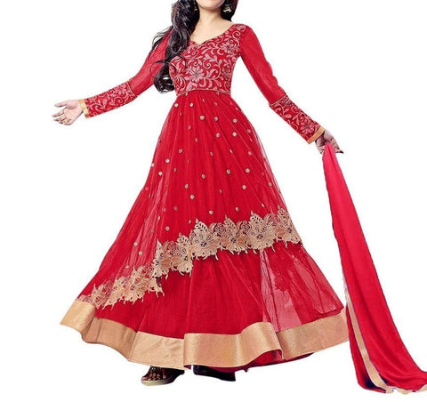 Rukhad Fashion Red Color Net Embroidered Anarkali Dress