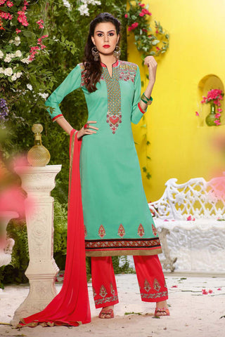 Sea Green & Red Colored Cotton Embroidery Work Un-Stitched Designer Salwar Suit