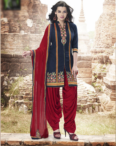 Navy Blue & Mroon colored Pure Cotton Patiyala Dress Material