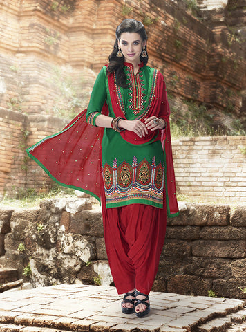 Red & Green colored Pure Cotton Patiyala Dress Material