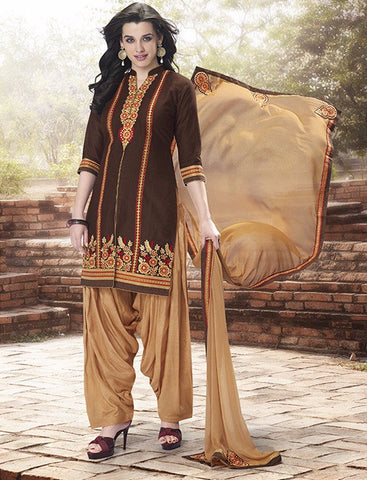 Brown & Beige Colored Pure Cotton Patiyala Dress Material