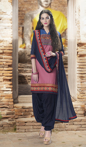 Dark Pink & Navy-Blue Colored Pure Cotton Patiyala Dress Material