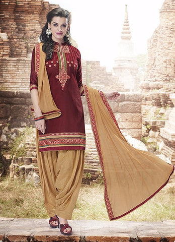 Maroon & Beige Colored Pure Cotton Patiyala Dress Material
