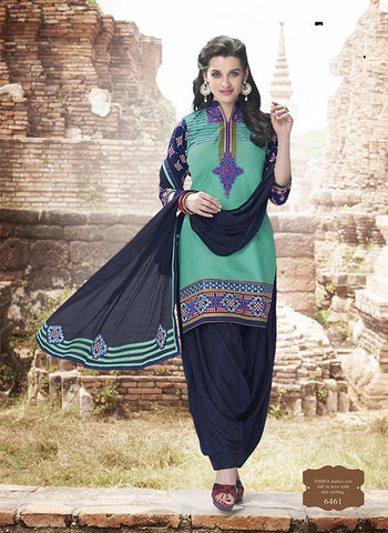 Turquoise & Navy Blue Colored Pure Cotton Patiyala Dress Material