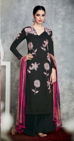 Black Color Pure Cotton Satin with Embroidery Un-Stitch Dress Material